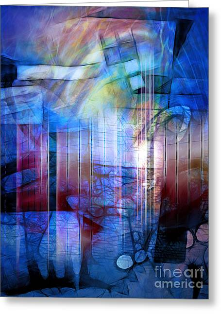 Different Worlds Greeting Cards - Blue Drama Greeting Card by Artwork Studio