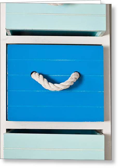 Cupboard Greeting Cards - Blue drawers Greeting Card by Tom Gowanlock