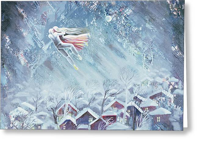 Snowy Night Night Greeting Cards - Blue Dream, 1983 Oil On Canvas Greeting Card by Radi Nedelchev