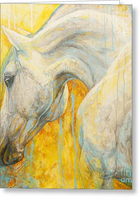 Blue Horse Greeting Cards - Blue Dreaming Greeting Card by Silvana Gabudean