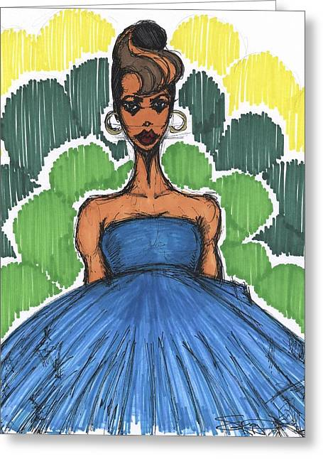 Ear Rings Greeting Cards - Blue Dress Diva Greeting Card by SKIP Smith