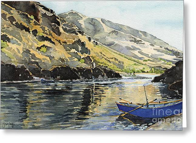 Salmon Paintings Greeting Cards - Blue Drift Boat Greeting Card by Janet Murphy