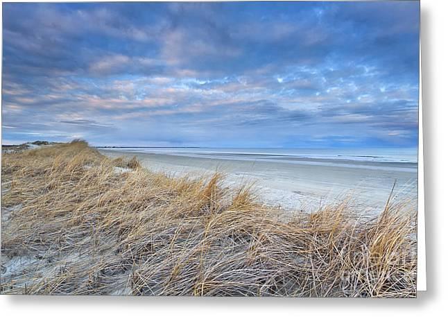 Blue Dusk At Ogunquit Beach Greeting Card by Katherine Gendreau
