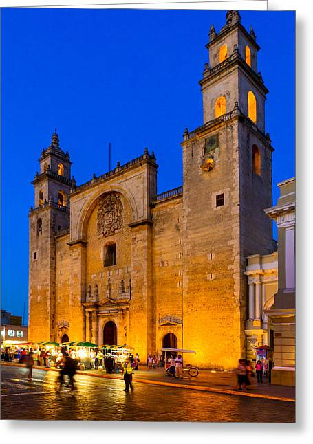 American Colonial Architecture Greeting Cards - Blue Dusk Falls on Merida Cathedral - Mexico Greeting Card by Mark Tisdale