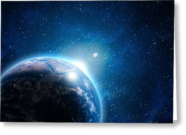 In Acrylic Pyrography Greeting Cards - Blue Earth In Space Greeting Card by Boon Mee