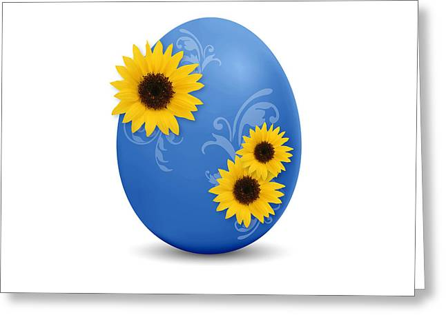 Easter Flowers Greeting Cards - Blue Easter Egg Greeting Card by Aged Pixel