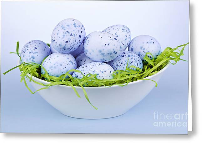 Coloured Greeting Cards - Blue Easter eggs in bowl Greeting Card by Elena Elisseeva