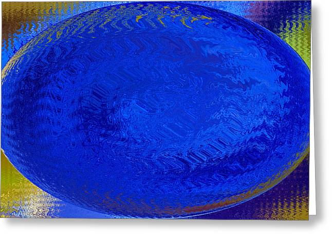 Blue Oval Greeting Cards - Blue Egg Abstract Greeting Card by Sharon  Talson