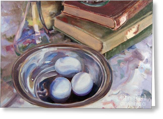 Cruet Greeting Cards - Blue Eggs Silver Bowl Greeting Card by Glenda Blake