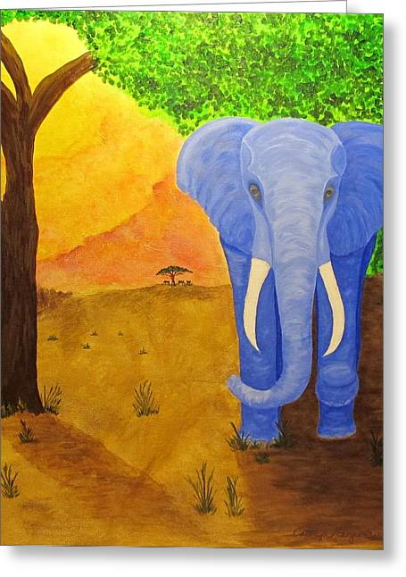 Elephant In The Room Greeting Cards - Blue Elephant Greeting Card by Carolyn Dargevics