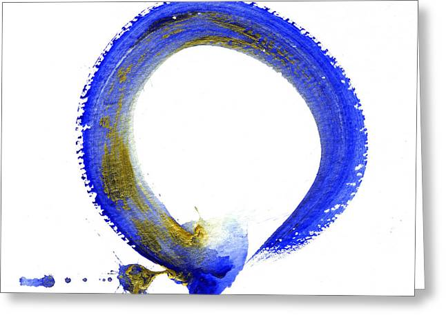 Mind-body-spirit Greeting Cards - Blue Enso Greeting Card by Ellen Miffitt