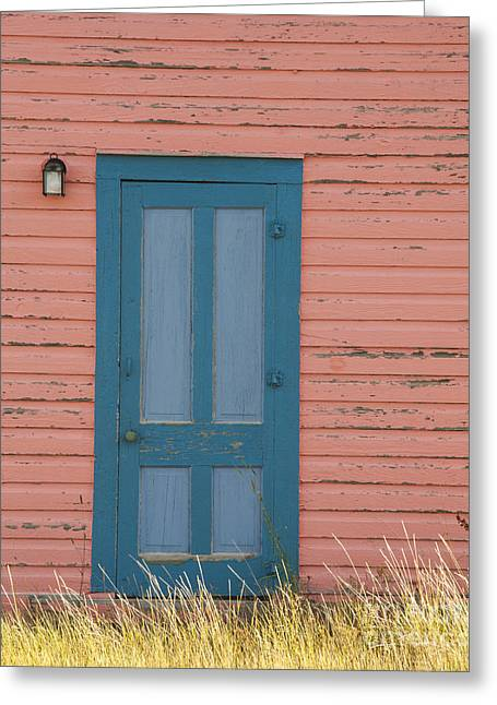 Wooden Antique Building Greeting Cards - Blue Entrance Door Greeting Card by Juli Scalzi