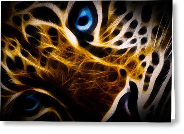 Tigers Digital Greeting Cards - Blue Eye Greeting Card by Aged Pixel