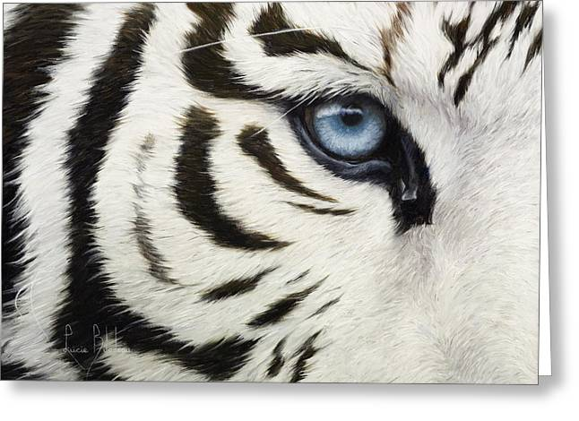 Tigers Greeting Cards - Blue Eye Greeting Card by Lucie Bilodeau