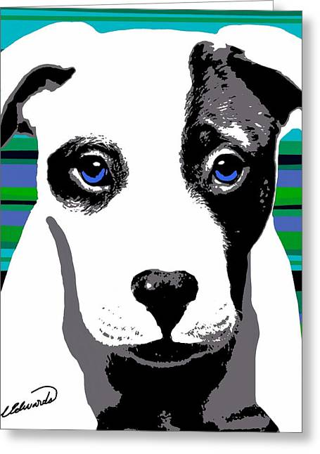 Framed Pit Bull Print Greeting Cards - Blue Eyed Bully Greeting Card by Cindy Edwards