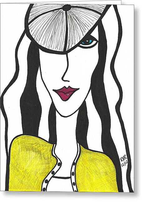 Yellow Sweater Greeting Cards - Blue Eyed French Girl Greeting Card by Ray Ratzlaff