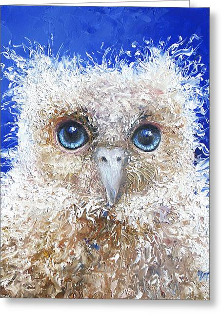 Owl Decor Greeting Cards - Blue eyed owl painting Greeting Card by Jan Matson