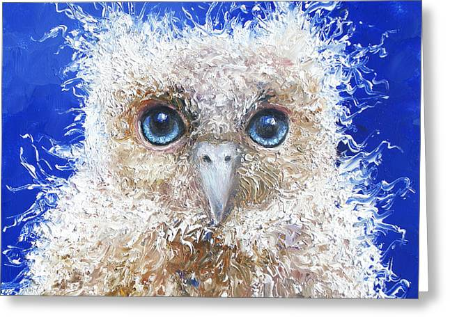 Animal Art Greeting Cards - Blue eyed owl painting Greeting Card by Jan Matson