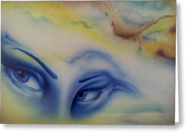 Airbrush Greeting Cards - Blue Eyes in the Rain Greeting Card by Mike Royal