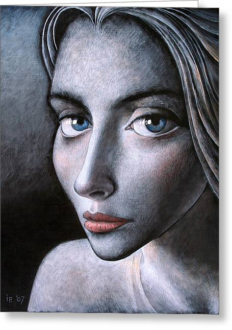Female Paintings Greeting Cards - Blue eyes Greeting Card by Ipalbus Art