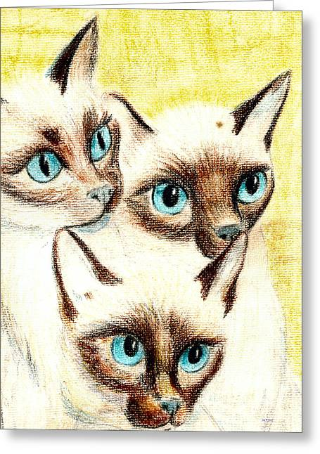 Photographs Pastels Greeting Cards - Blue Eyes Greeting Card by Joy Reese