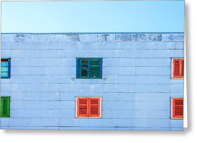 Latino Culture Greeting Cards - Blue Facade and Colorful Windows Greeting Card by Jess Kraft
