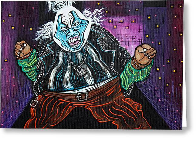Superheroes Paintings Greeting Cards - Blue Faced Clown Greeting Card by Laura Barbosa