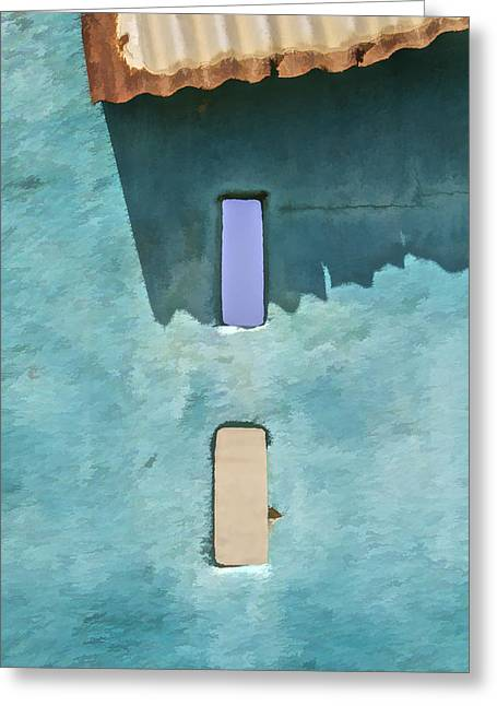 Metal Roof Greeting Cards - Blue Faded Wall of Aruba II Greeting Card by David Letts