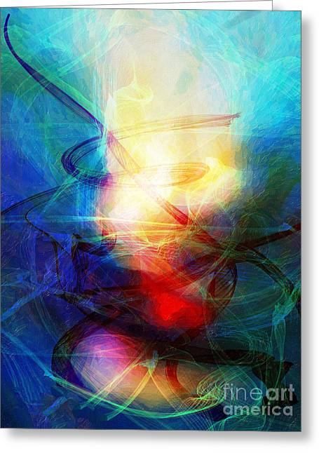 Abstract Digital Mixed Media Greeting Cards - Blue Fantasy 7 Greeting Card by Artwork Studio
