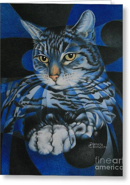 Geometric Artwork Greeting Cards - Blue Feline Geometry Greeting Card by Pamela Clements