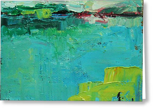 Pallet Knife Greeting Cards - Blue Field Greeting Card by Becky Kim