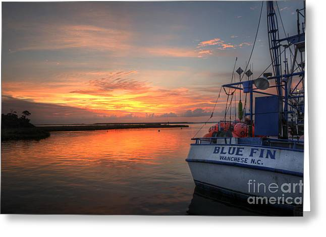 Working Boats Greeting Cards - Blue Fin Morning Greeting Card by Terry Rowe