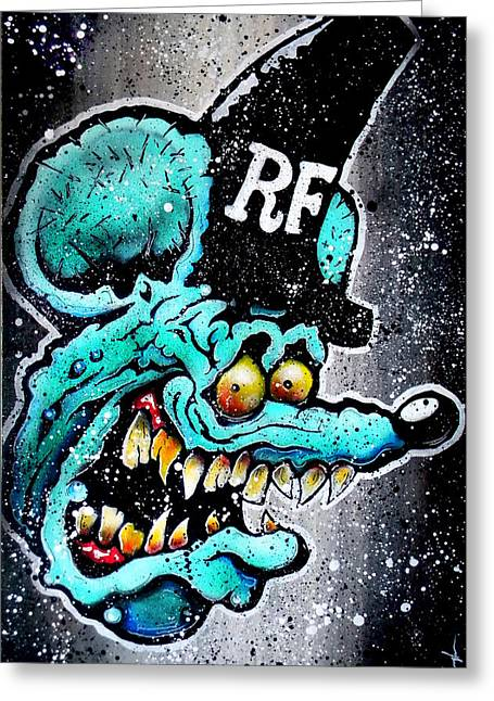 Rat Fink Greeting Cards - Blue Fink Greeting Card by Vaughn Belak