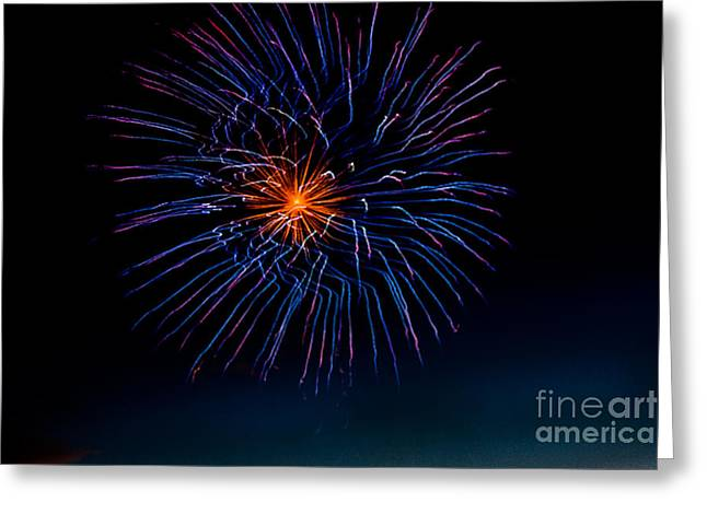 Purple Fireworks Greeting Cards - Blue Firework Flower Greeting Card by Robert Bales