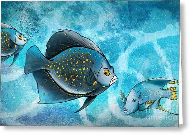 Fun Pyrography Greeting Cards - Blue Fish Fantasy Greeting Card by Bedros Awak