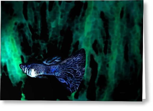 Textured Greeting Cards - Blue fish in Digital Art Greeting Card by Mario  Perez