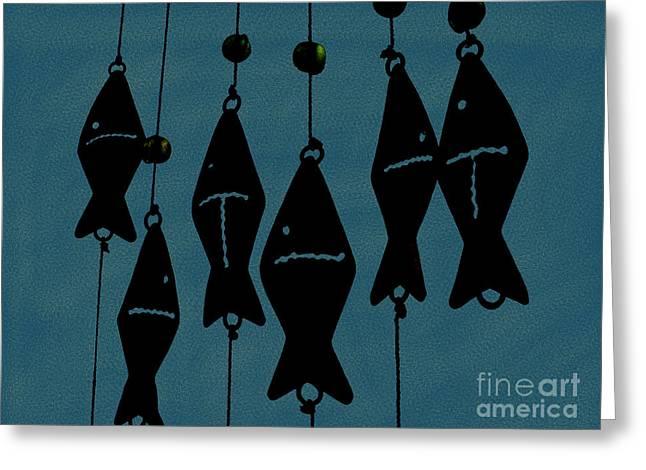 Hanging Mobile Greeting Cards - Blue Fish Mobile Greeting Card by Megan Dirsa-DuBois