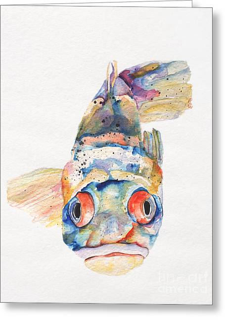 On Paper Paintings Greeting Cards - Blue Fish   Greeting Card by Pat Saunders-White