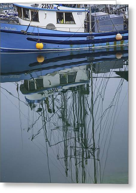 Water Vessels Greeting Cards - Blue Fishing Boat in a Harbor on Vancouver Island Greeting Card by Randall Nyhof