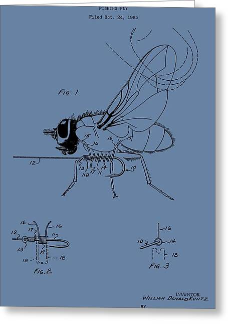 Flys Greeting Cards - Blue Fishing Fly Patent Greeting Card by Dan Sproul