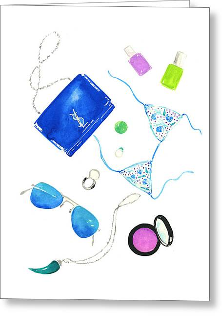 Yves Saint Laurent Greeting Cards - Blue Flat Lay Greeting Card by Koma Art