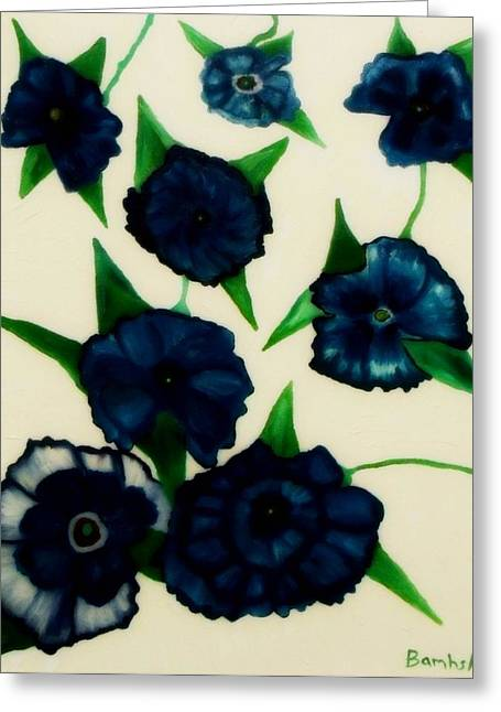 Bamhs Blair Greeting Cards - Blue Floral Burst Greeting Card by Bamhs Blair