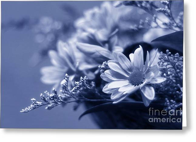 Condolences Greeting Cards - Blue Flower Bouquet Greeting Card by Charline Xia