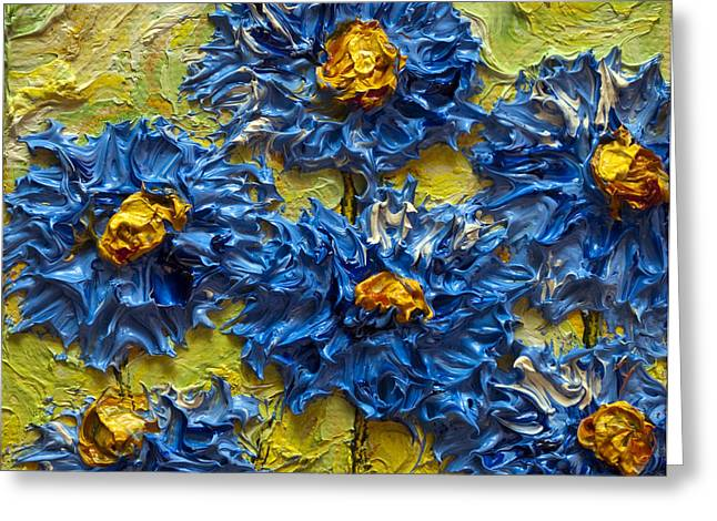 Paris Wyatt Llanso Greeting Cards - Blue Flower Cluster II Greeting Card by Paris Wyatt Llanso