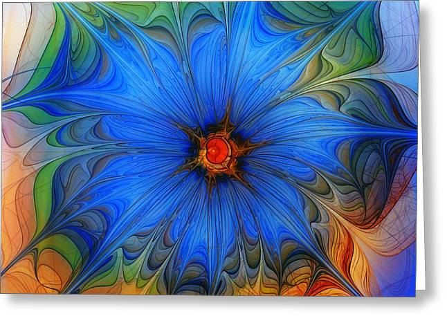 Subtile Greeting Cards - Blue Flower Dressed For Summer Greeting Card by Karin Kuhlmann