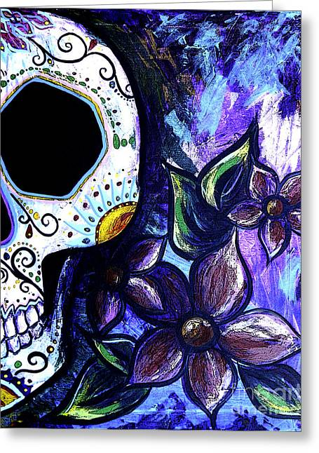 Marigold Festival Greeting Cards - Blue Flower Skull Greeting Card by Lovejoy Creations