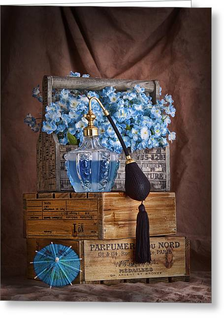 Wooden Box Greeting Cards - Blue Flower Still Life Greeting Card by Tom Mc Nemar
