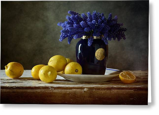 Tabletop Greeting Cards - Blue Flowers and Lemons Greeting Card by Nikolay Panov