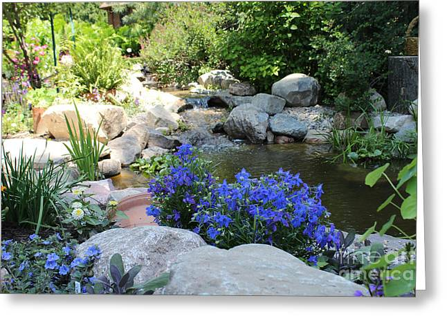 Water Garden Pyrography Greeting Cards - Blue Flowers and Stream Greeting Card by Corey Ford