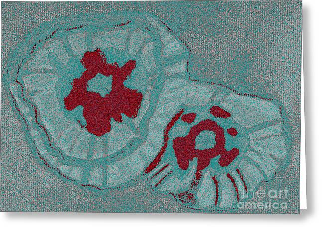 Abstract Digital Pastels Greeting Cards - Blue Flowers Greeting Card by Christine Perry